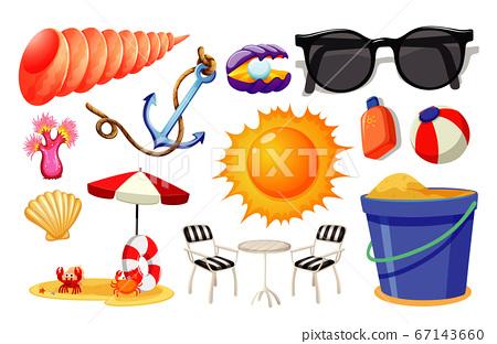 Set of summer beach icon cartoon style on white 67143660