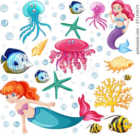 Set of sea animals and mermaid cartoon character 67143674