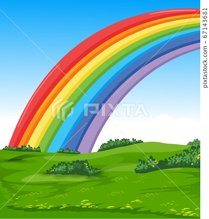 Colorful rainbow with meadow and sky cartoon style 67143681