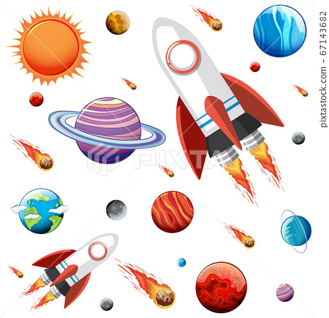 Colorful galaxy space and planets set 67143682