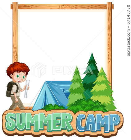 Border template design with boy at summer camp 67143750