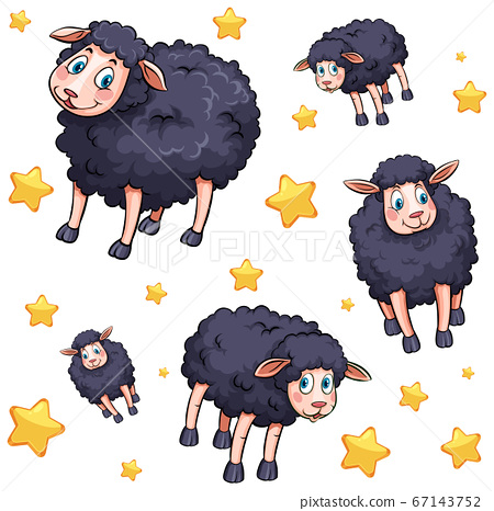 Seamless background design with black sheep and 67143752