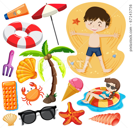 Set of summer beach icon cartoon character style 67143756