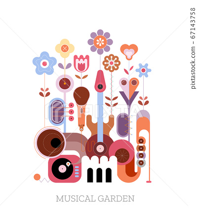 Summer Flowers and Musical Instruments 67143758