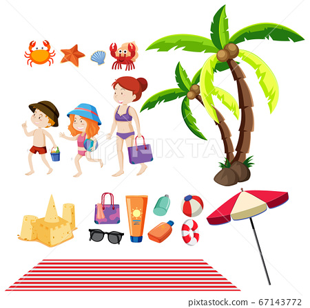 Set of people and summer items on the beach 67143772