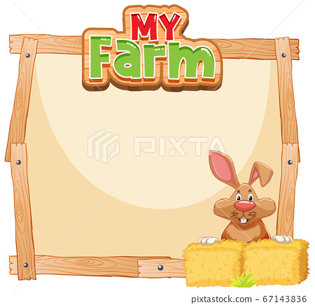 Border template design with brown bunny and hay 67143836