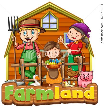 Font design for word farmland with farmer family 67143901