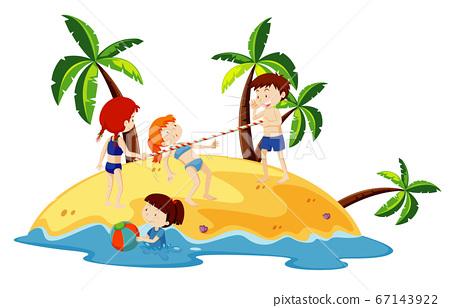 Ocean scene with people having fun on the beach 67143922