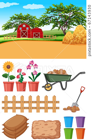 Farm scene with barns and other farming items 67143930