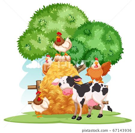 Farm scene with many animals on the farm 67143936