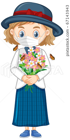 Girl wearing mask holding flowers 67143943