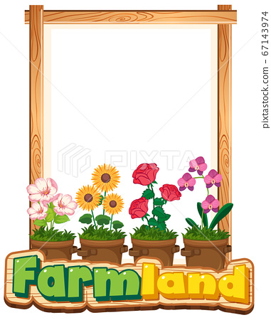 Border template design with many flowers in the 67143974