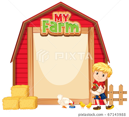 Border template design with cute boy and chickens 67143988