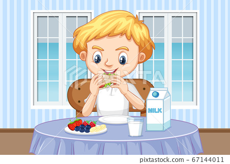 Scene with boy eating healthy breakfast at home 67144011
