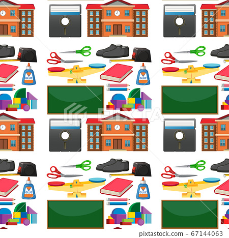 Set of stationary tools and school seamless 67144063