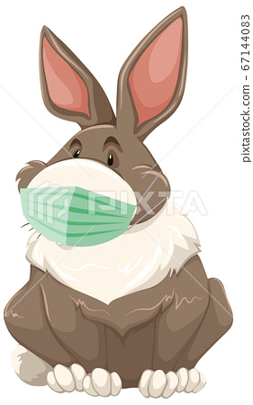 Rabbit cartoon character wearing mask 67144083