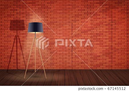 Loft interior with floor lamp Tripod 67145512