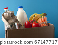 Food delivery. cardboard box with grocery. 67147717
