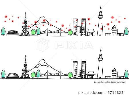 東京城市景觀和新冠狀病毒 67148234