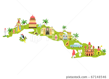 Bright illustrated map of Cuba with symbols, icons, famous destinations, attractions. 67148546