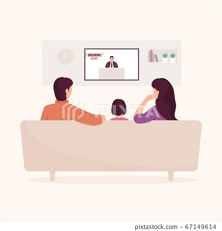 Family watching daily news on television. Parents and kid sitting on the couch in the living room. 67149614