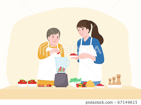 Happy senior mother and middle aged daughter adding fruits in blender. Flat cartoon character design. Vector Illustration. 67149615