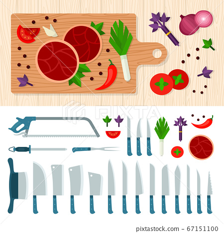 Meat cutting knives set. Cooking juicy beef steak. Grilled ribeye beef steak, herbs and spices. Meat Knife. Set of butcher meat knives for butcher shop vector illustration in a flat design. 67151100