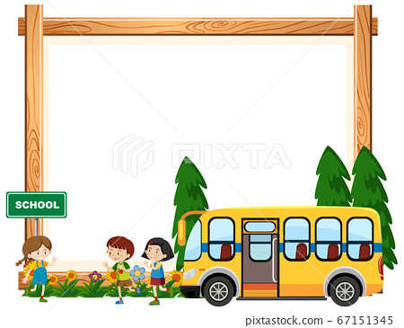 Border template design with kids riding on school 67151345