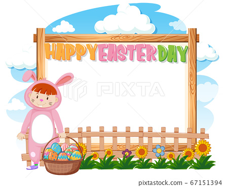 Border template design with girl in bunny costume 67151394