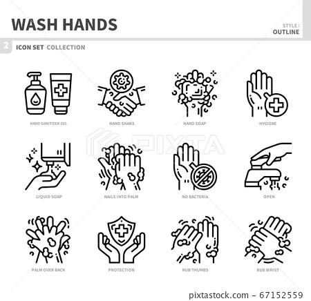 wash hands icon set 67152559