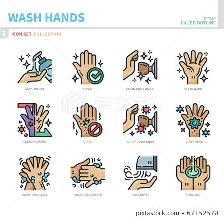 wash hand icon set 67152578