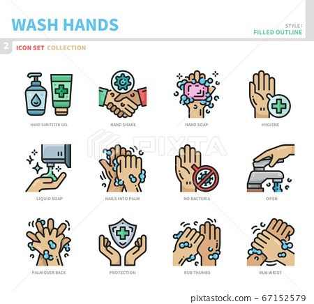 wash hands icon set 67152579