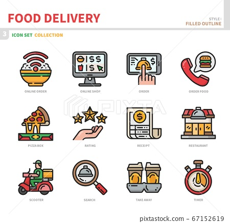 food delivery icon set 67152619