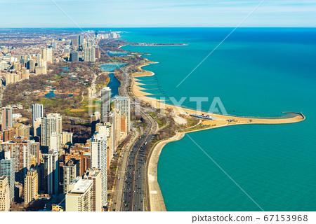 Aerial panorama of Chicago and Lake Michigan. North Avenue beach. Illinois, USA 67153968