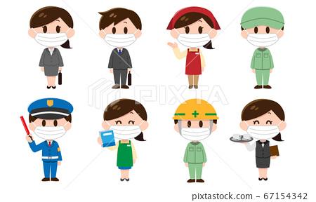 招募・各种职业的人(男女)配戴口罩 67154342