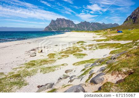 Utakleiv Beach on the Lofoten islands in Norway 67155067