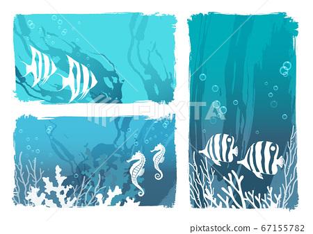 Sea creatures background illustration set 67155782