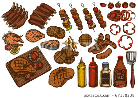 Vector set of hand drawn colored spatula, Pork ribs, kebab, sausages, steak, sauce bottles, grilled burger patties, grilled tomato, grilled salmon steak, grilled bell pepper 67158239