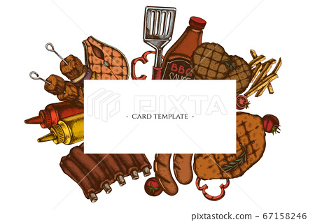 Frames with colored spatula, Pork ribs, kebab, sausages, steak, sauce bottles, grilled burger patties, grilled tomato, grilled salmon steak, grilled bell pepper 67158246
