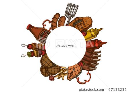 Frames with colored spatula, Pork ribs, kebab, sausages, steak, sauce bottles, grilled burger patties, grilled tomato, grilled salmon steak, grilled bell pepper 67158252