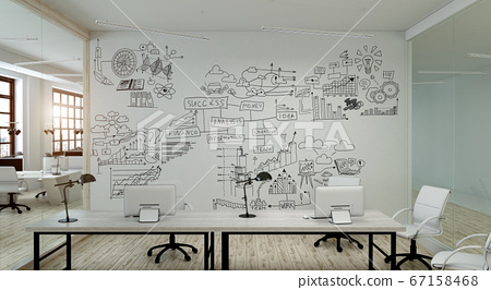 A modern office with creative business strategy sketch drawn on white wall 67158468