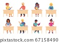 Children reading in school. Cartoon cute school kids and students sitting at the desk and studying. Vector school boys and girls learning with books 67158490
