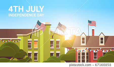 decorated buildings with USA flags 4th july american independence day celebration concept 67160858