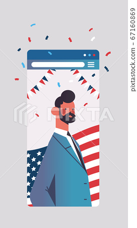 man celebrating 4th of july american independence day concept smartphone screen mobile app 67160869
