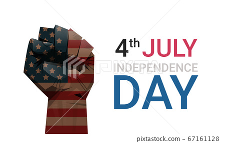raised up fist of united states flag painted 4th of july banner independence day holiday concept 67161128