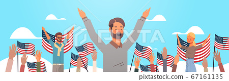 happy people holding united states flags celebrating american independence day holiday 4th of july concept 67161135