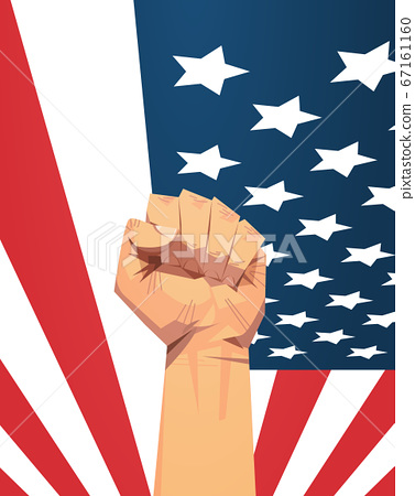 raised up fist over united states flag 4th of july banner independence day holiday concept vertical 67161160