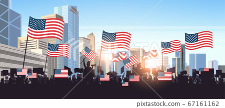 people silhouettes holding united states flags celebrating independence day holiday 4th of july banner 67161162
