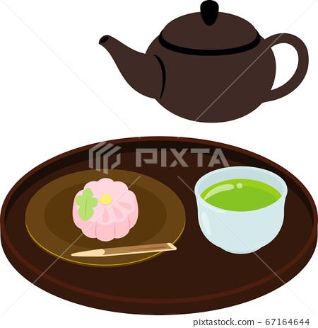 Obon上的綠茶和日本甜點 67164644