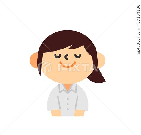 Business short sleeve Cool Biz upper body flat female bow greeting 67168136